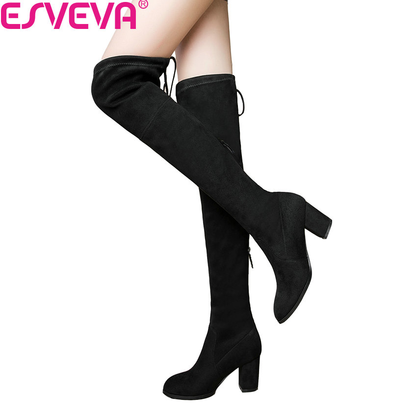 ESVEVA 2020 Over The Knee Boots Winter Round Toe Warm Women Boots Lady Short Plush + Stretch Fabric Fashion Boots Big Size 34-43