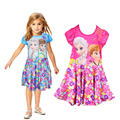 Novo estilo verão 2016 crianças vestido elsa anna vestido de princesa menina de impressão marca vestido de crianças vestidos de festa de POLIÉSTER CX