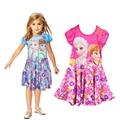Nuevo 2016 del estilo del verano vestido de los niños vestido de princesa elsa anna chica print dress marca vestidos de fiesta kids POLIÉSTER CX