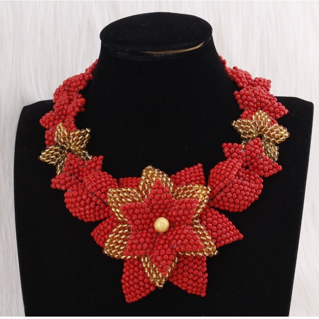 4UJewelry Handmade Flower Jewelry Set Gold and Red 100% Braid African Necklace Set Pendant Luxury Crystal Free Shipping 2019 Set