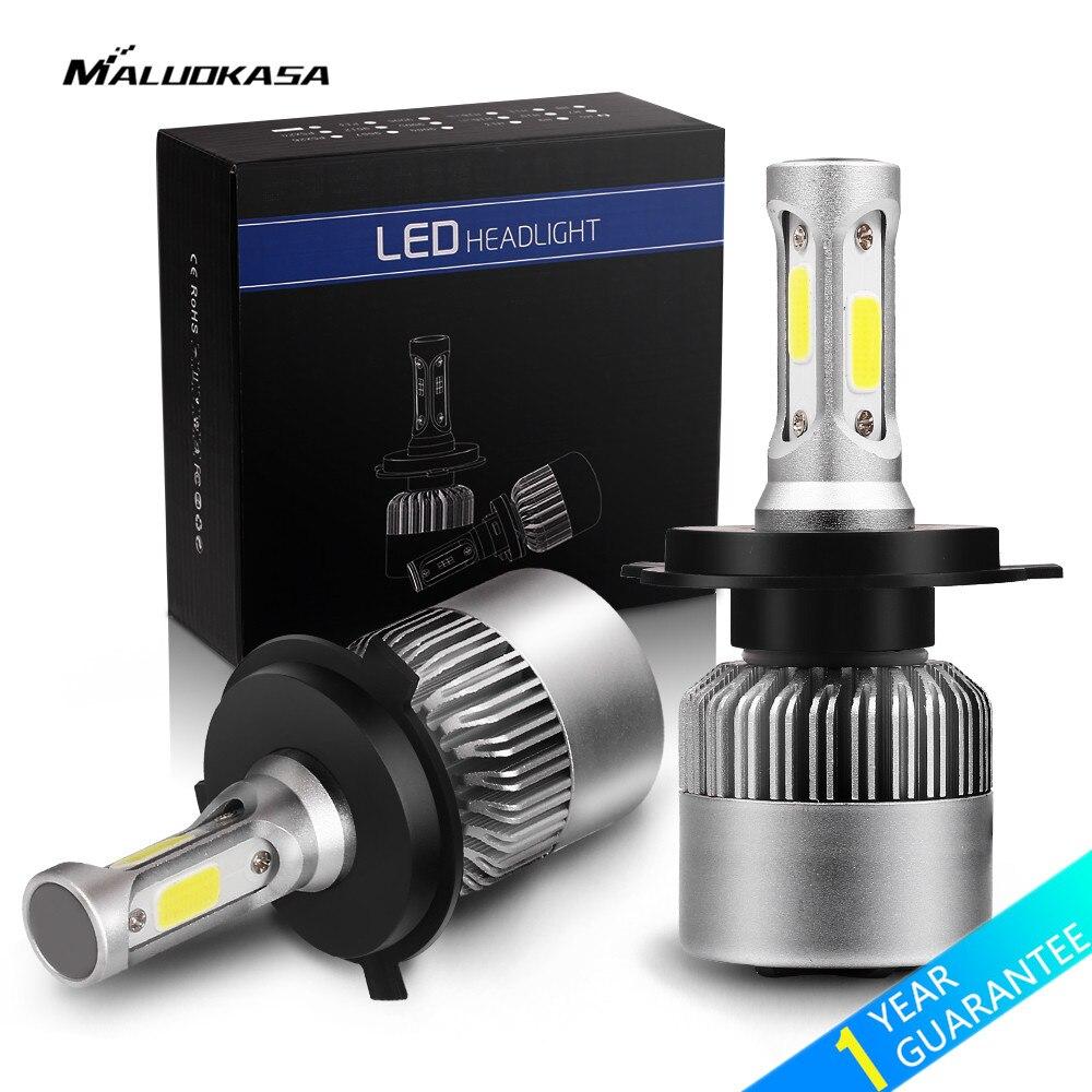 MALUOKASA 2 Stücke 8000LM Auto Scheinwerfer S2 H1 H4 H7 LED 72 Watt H8/H9/H11 9005/HB3 9006/HB4 H27 Led-lampe 6000 Karat Weiß für BMW VW Audi