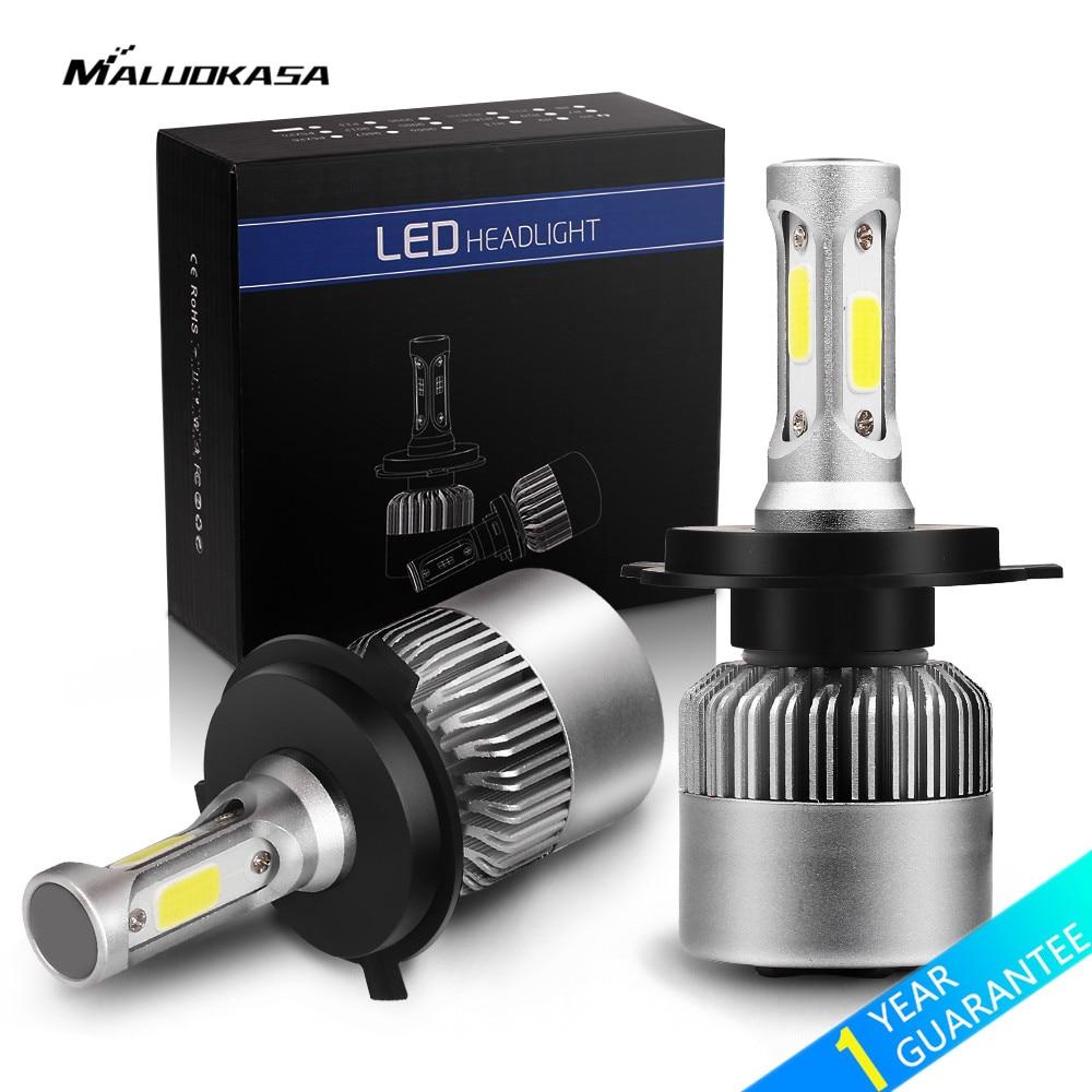 MALUOKASA 2PCs 8000LM Car Headlight S2 H1 H4 H7 LED 72W H8 H9 H11 9005 HB3