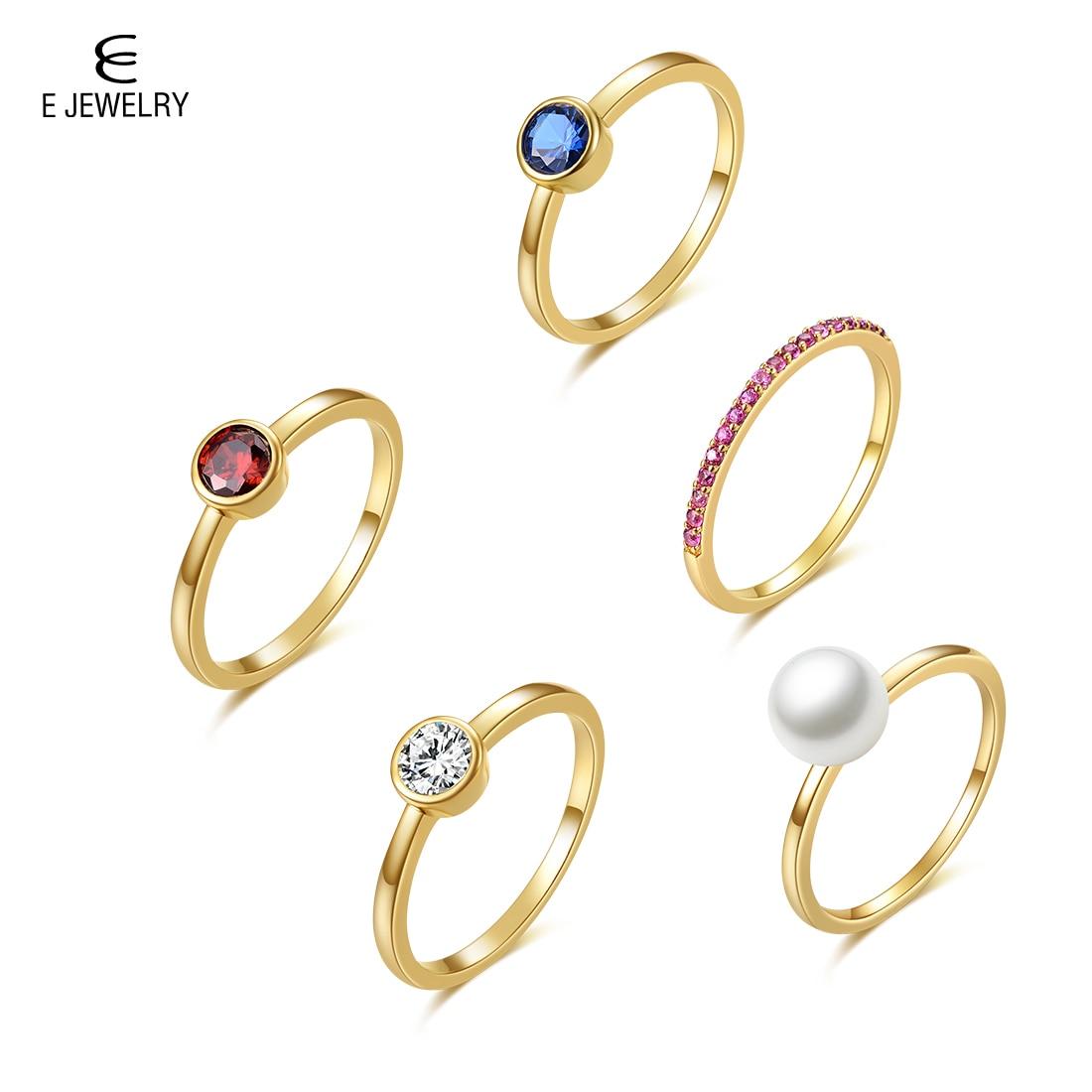 E 18 K Amarelo Banhado A Ouro Shell Pérola Anéis para As Mulheres Empilháveis Birthstone Jóias Declaração Set Moda Banda ring Finger CZ anéis