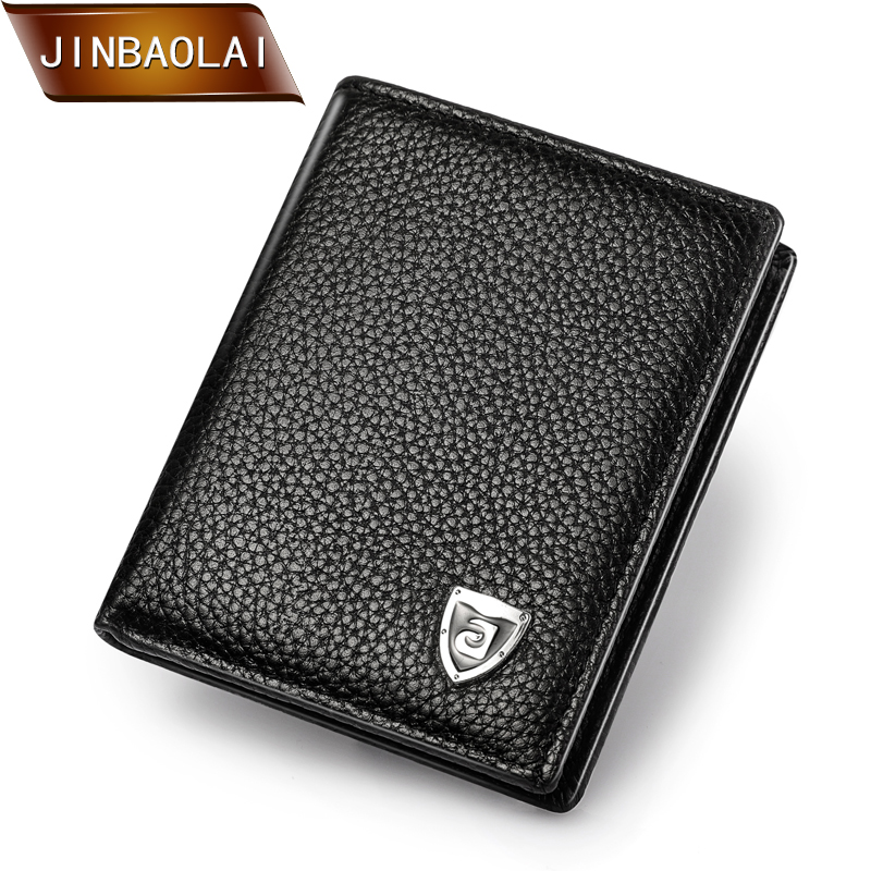 JINBAOLAI Small Size Men Wallets Genuine Leather Wallet Women Credit Card Holder Mini Wallet Black and Brown carteira masculina