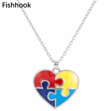 Fishhook Enamel Heart Shaped Autism Awareness Puzzle Piece Autistic Pendant Necklace Jewelry