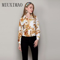 Best Quality 2018 Latest Autumn Fashion Tops Full Sleeve Turn Down Collar Leaves Printed Casual Shirt