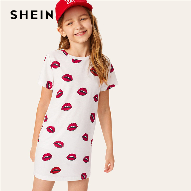 SHEIN Kiddie/Белое Платье-туника в стиле кэжуал с принтом, 2019 летнее милое прямое короткое платье с короткими рукавами для маленьких девочек