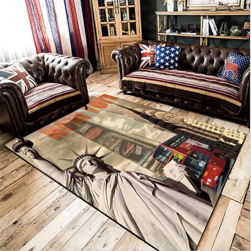 AOVOLL Area Rug For Living Room Retro USA New York Statue Of Liberty Kitchen Bedside Carpet Door Mat Grey Modern Home Decor