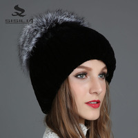 SISILIA 2017 New Winter Fashion Of Women Hats With Rabbit Fur Hats Winter Caps Warm Knitted Cotton Beanies Female Fur Caps