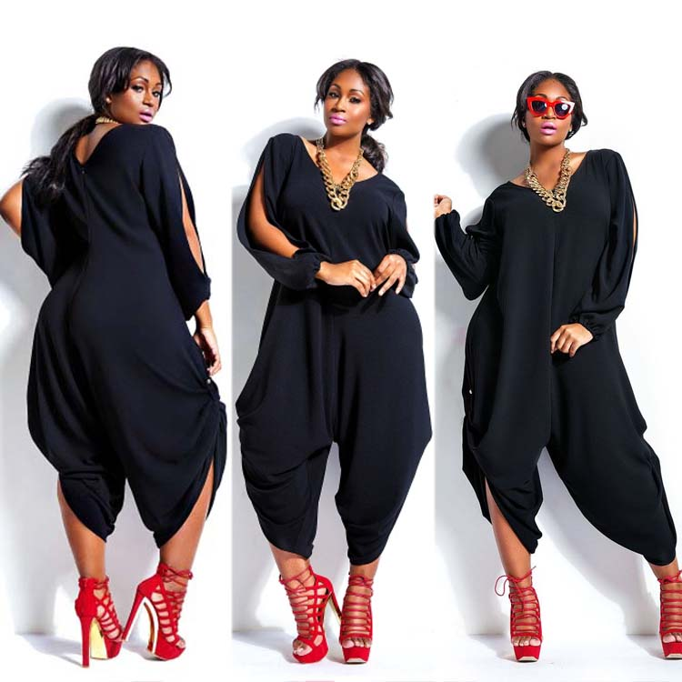 f67e27fb20c 2019 Women Hot Long Sleeve Chiffon Romper Baggy Harem Jumpsuit Plazzo Plus  Size From Ladylbdcloth