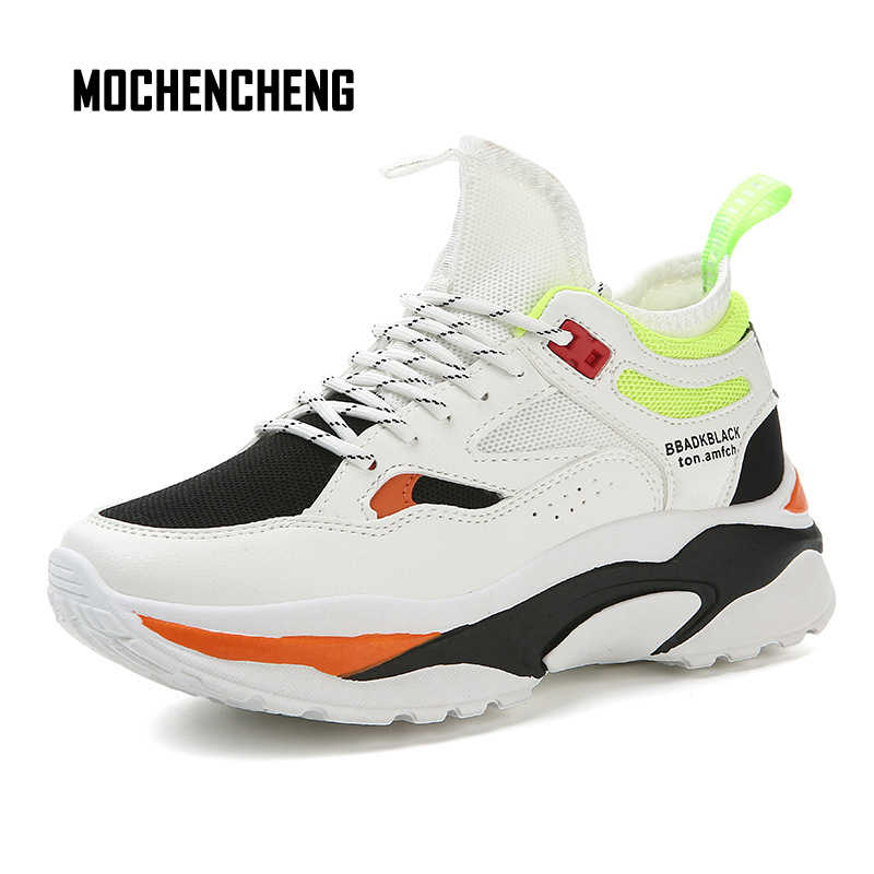 Men Sneaker Chunky Wedge Dad Shoes Thick Platform PU Leather Flat Lace-up  Round Toe eb80e4971