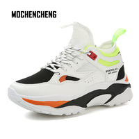Men Sneaker Chunky Wedge Dad Shoes Thick Platform PU Leather Flat Lace up Round Toe Hip Hop Fashion Male Sneaker Rubber Shoes