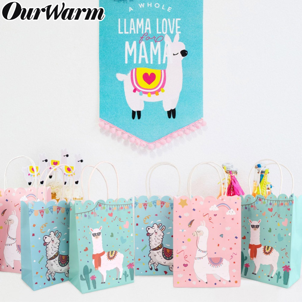 OurWarm 5Pcs Paper Gift Bags With Handles Cartoon Animal Alpaca Llama Party Bags Candy Box Baby Shower Birthday Party Supplies