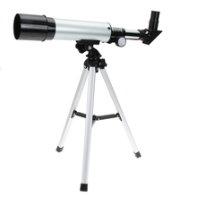 цены 2017 Monocular Handhold Silver 360/50mm Refractive Outdoor Monocular Astronomical Telescope with Portable Tripod Spotting Scope
