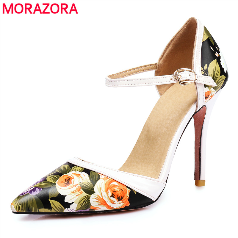 MORAZORA Plus size 34-47 new high heels shoes woman pu printing leather summer women pumps pointed toe ladies wedding shoes comfy women pointed toe square high heels office shoes woman flock ladies pumps plus size 34 40 black grey high quality
