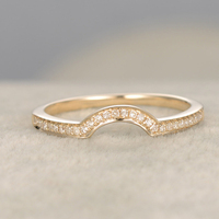 Topaz Solid 14K Yellow Gold Half Eternity Anniversary Ring Stacking Ring Curved Matching Band Plain Gold