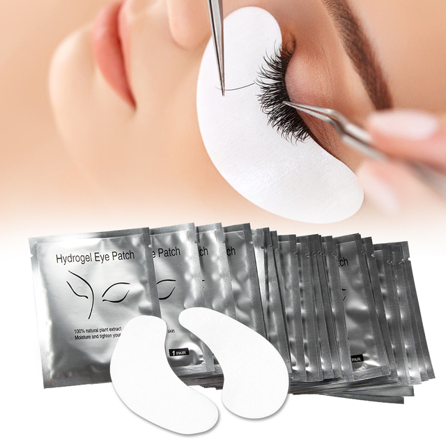 50 Pasang/Banyak Bantal untuk Ekstensi Bulu Mata Mata Sekali Pakai Kertas Patch Bebas Serat Bulu Mata Tips Sticker Membungkus Alat Makeup