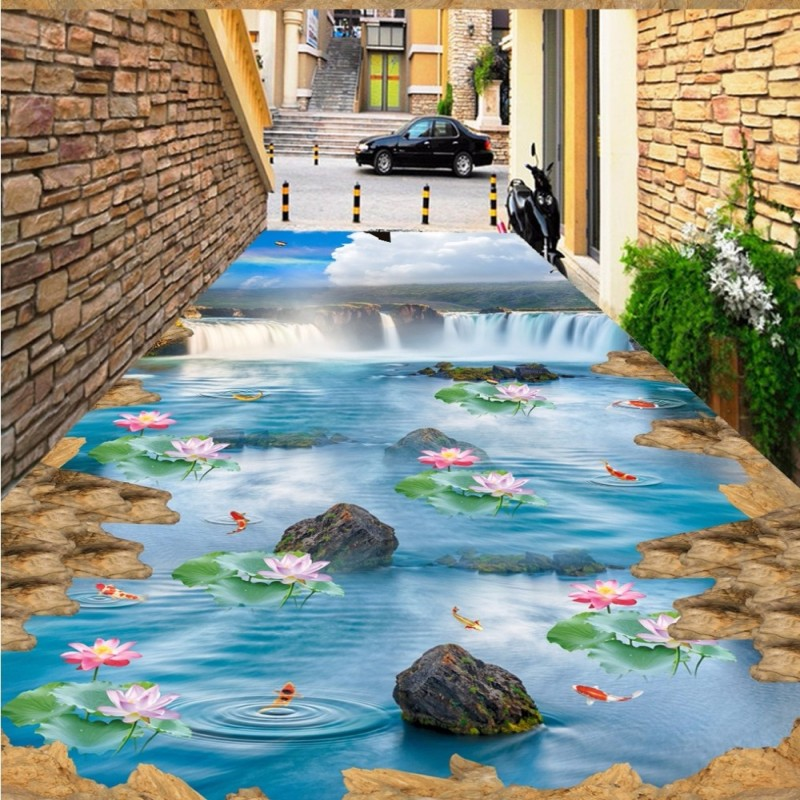 Free Shipping 3D Cliff Falls Blue Sky White Lotus Carpet Kitchen Floor wear non-slip waterproof bedroom square flooring mural free shipping high quality hd underwater world 3d flooring painting wallpaper kitchen office wear floor mural