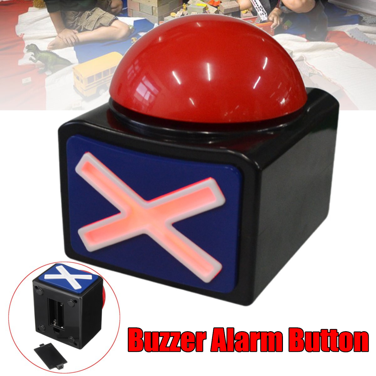 Rouge Jeu Réponse Buzzer Alarme Bouton Avec Sound Light Soulager Le Stress Blague Blague Grand