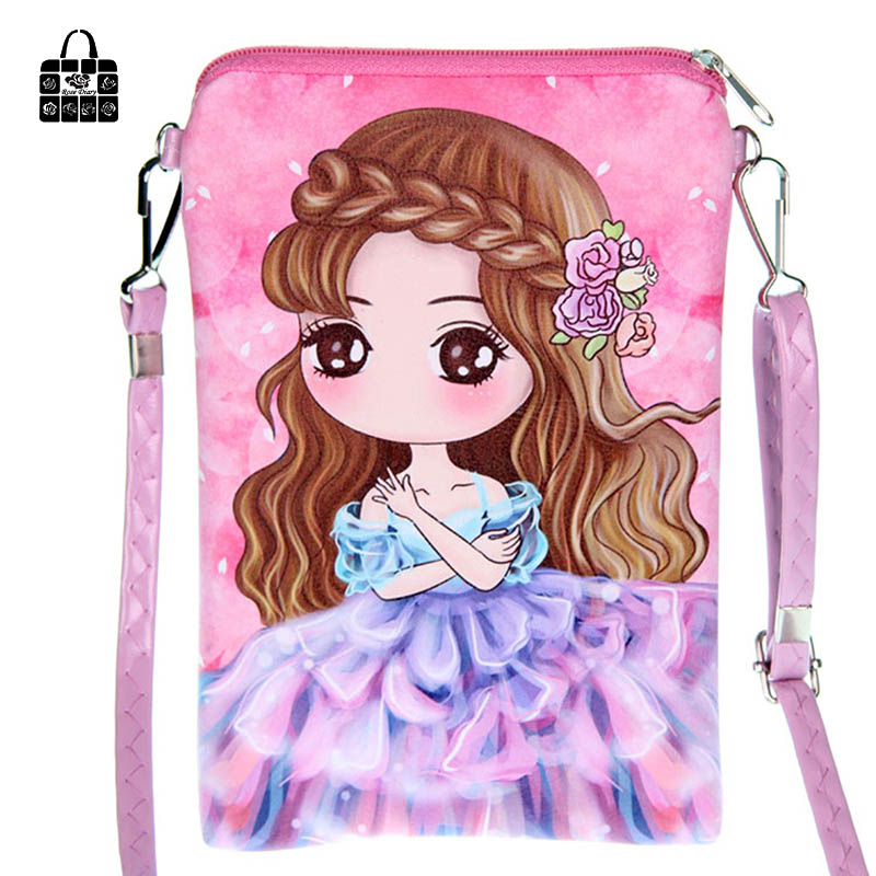 Rose Diary Cartoon PUleather double zipper Children Bags fashion handbags kids Messenger bag Shoulder Bag for kindergarten girl