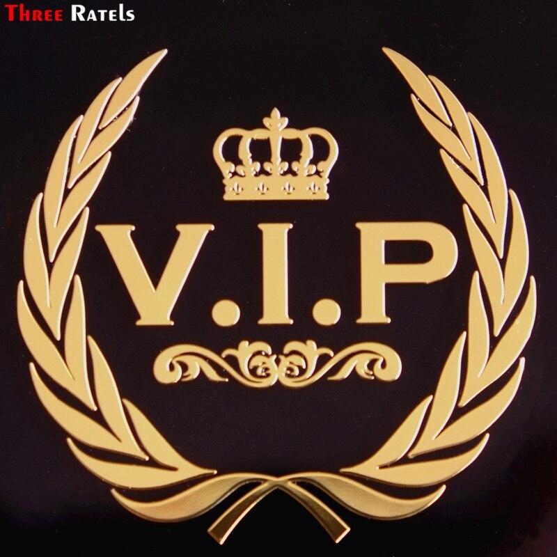 Three Ratels MT-043# 56*58mm vip crown metal golden nickel car sticker auto car stickers