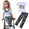 Meninas do bebê Listra Eu Acordei Como Esta camisa Da Criança e Calças Conjuntos de Roupas Meninas Outfits Set 2 a 7Y Crianças Ternos de Boa Qualidade
