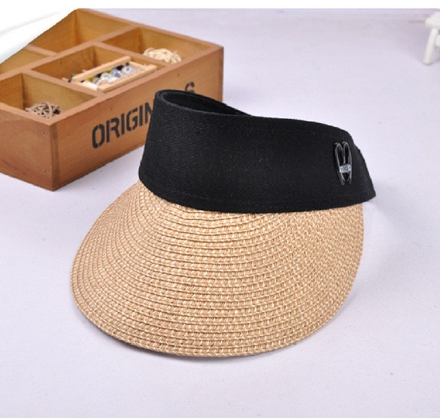 Summer Womens Clip on Straw Sun Visor Wide Brim Empty Top Sun Hat Beach Cap A1