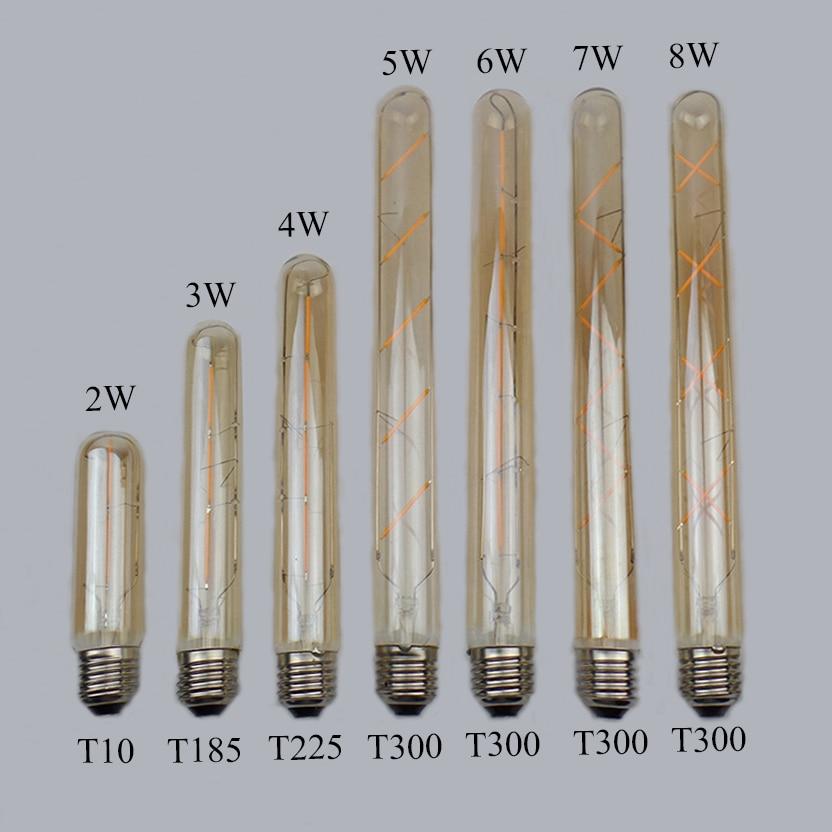 T10 T185 T225 T300 LED Vintage Edison Light Lamp LED Bulb E27 2W 3W 4W 5W 6W 7W 8W 220V Retro Flame Light For Home Decor