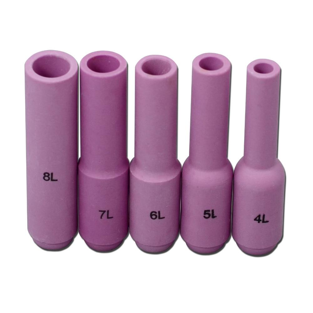 TIG Consumables KIT Long Alumina Nozzle 10N50L 10N49L 10N48L 10N47L 10N46L Fit TIG Welding Torch DB PTA SR WP 17 18 26 ,5pcs
