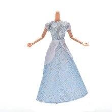 1 шт. Аксессуары для кукол платье куклы Элегантный Светло-серый свадебное платье принцессы платье для Барби Золушка Куклы