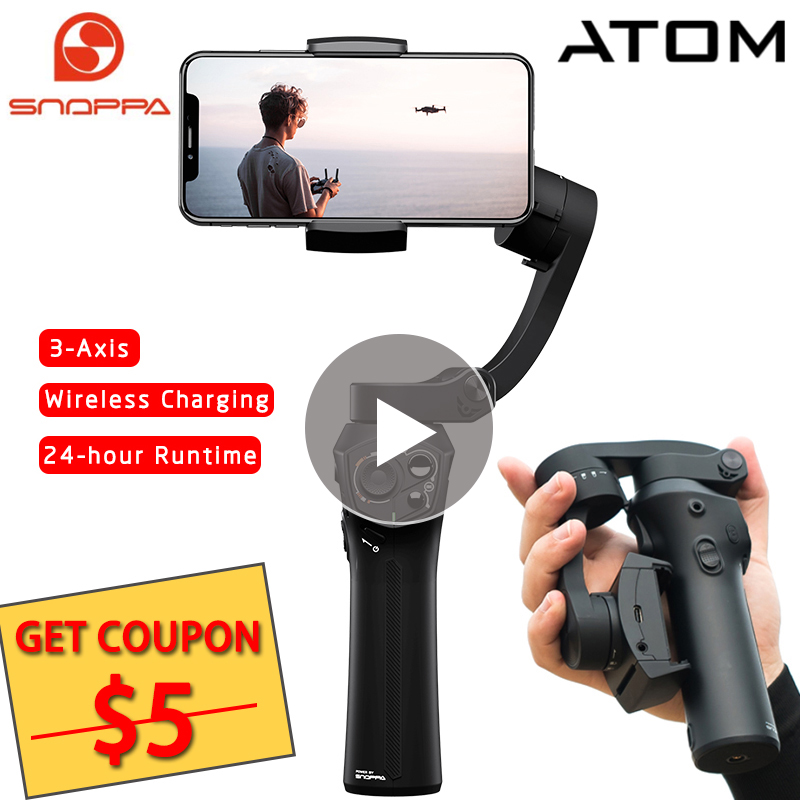 Snoppa Atom 3-Axis Handheld Gimbal Smartphone Selfie Stabilizer for iPhone X Samsung Gopro 6 7 PK Smooth 4 Q/DJI OSMO Mobile 2