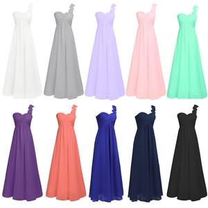 Image 3 - Women Adults Long Bridesmaid Dresses vestidos de fiesta One Shoulder Floor Length Chiffon Long Bridesmaid Gowns Beading Dresses