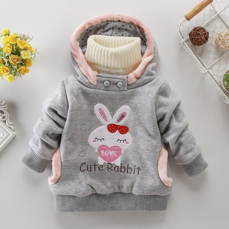 Girls Sweatshirts Hoodies Children Clothing Autumn And Winter Baby girl Thick Cotton Tops Kids Cute Cartoon Rabbit Hooded Coat 5