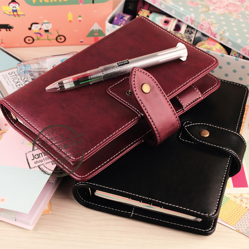 2017 new original a6 a7 pu leather planner travel creative diary planner loose leaf notebook with zip inside bag match lovedoki Imitation Leather Planner Notebook Vintage Creative Stationery A5 A6 Loose-Leaf Time Planner Personal Diary School supplies