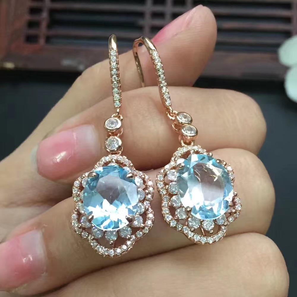 Gems Size 111*92mm Natural Blue Topaz Women Earrings For Women Earrings (china