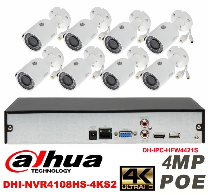 Dahua original 8CH 4MP H2.64 DH-IPC-HFW4421S 8pcs bullet Waterproof camera POE DAHUA DHI-NVR4108HS-4KS2 IP security camera kit видеокамера ip dahua dh ipc hdbw2220rp zs 2 7 12мм 1 2 8 1984x1225