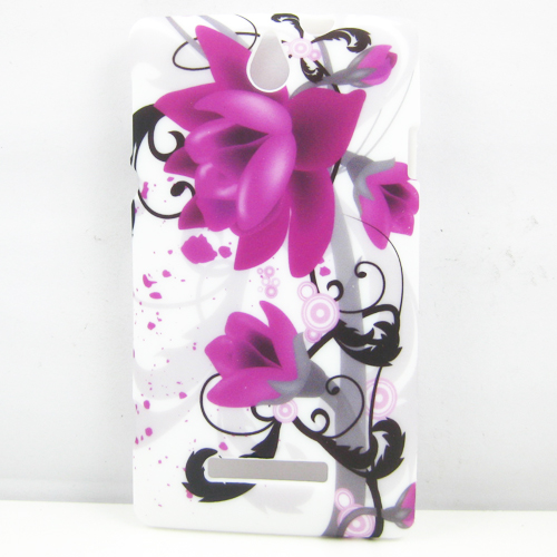 Purple Peny Flower Soft Tpu Gel Silicone Case Cover for Sony Xperia E dual C1605 C1604 C1505 Cover
