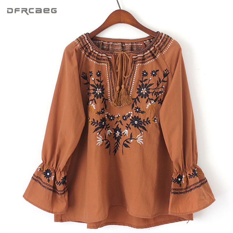 Casual 2018 Spring Boho Ethnic Women Blouses Floral Embroidered Tassel Blusas Femininas Lace Up Flare Sleeve Tops Cotton Shirts