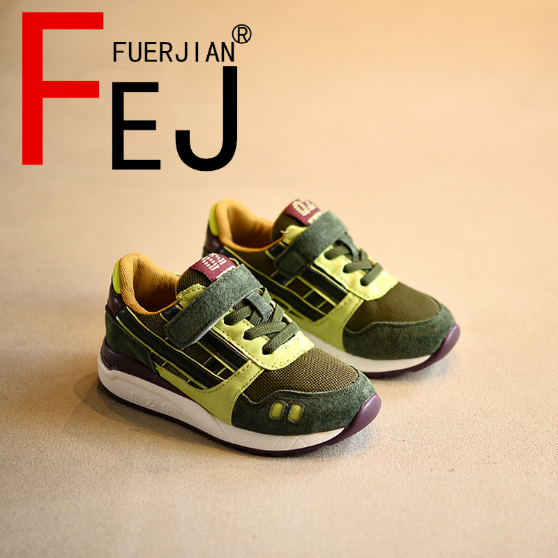 Kids Shoes 2017 FUERJIAN Spring New Fashion Trend Boys Girls Running Shoes Sneakers Breathable Children Casual Shoes Comfortable 2017 new fashion kids leather sport shoes teenager breathable sneakers children shoes for girls boys non slip kids running shoes
