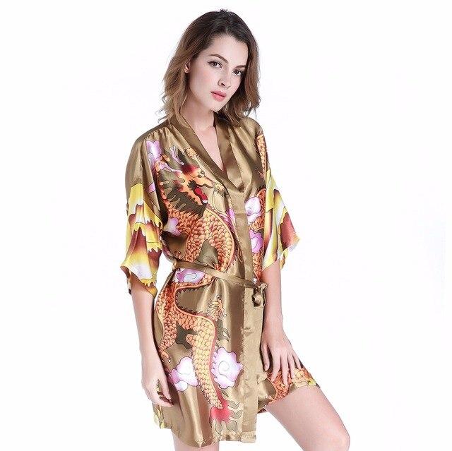 c93d74fe40f New Arrival Chinese Female Traditional Satin Robe Women Summer Casual  Nightwear Vintage Dragon Kimono Sleepwear One Size XX03. Anniversary Sale US  ...
