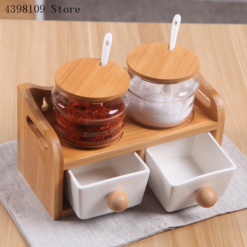 Ustensiles de cuisine créative en céramique assaisonnement Pot huile bouteille ensemble verre assaisonnement boîte bambou plateau ustensiles de cuisine épices boîte salière