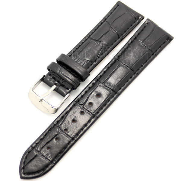 26mm Black 2.6cm Band Width Genuine Leather Wrist Watch Band Strap Stainless Steel Buckle Men Women + 2 Spring Bars