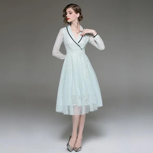 HAYBLST Brand Women Dress Summer 2019 Elegant Fashion New Print Lace Patchwork Long Femme Dress Breathable Plus Size XL Clothing