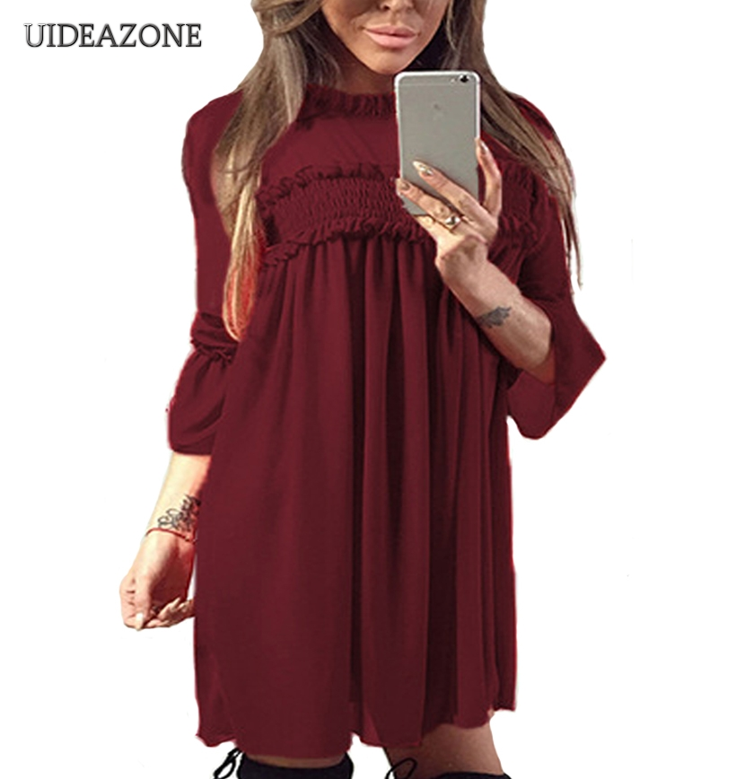 Dresses Bambooboy Turtlenneck Casual Dress Women 2017 Autumn Red Long Sleeve Shift Dresses Above Knee Beach Dressfc200