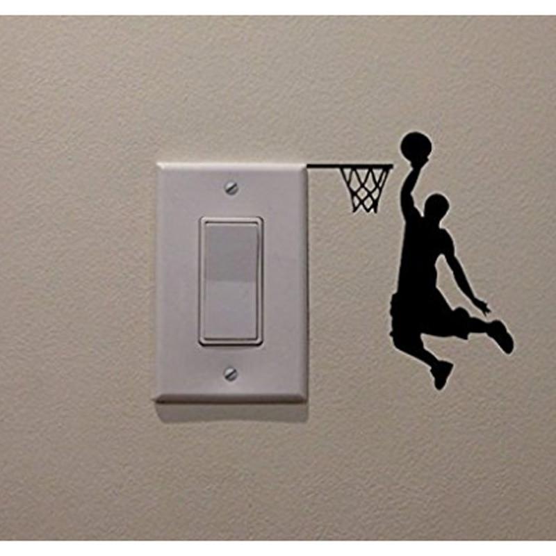 Basketball Player Cartoon Vinyl Switch Sticker Decor Lightswitch Decor Wall Decals 5WS0073
