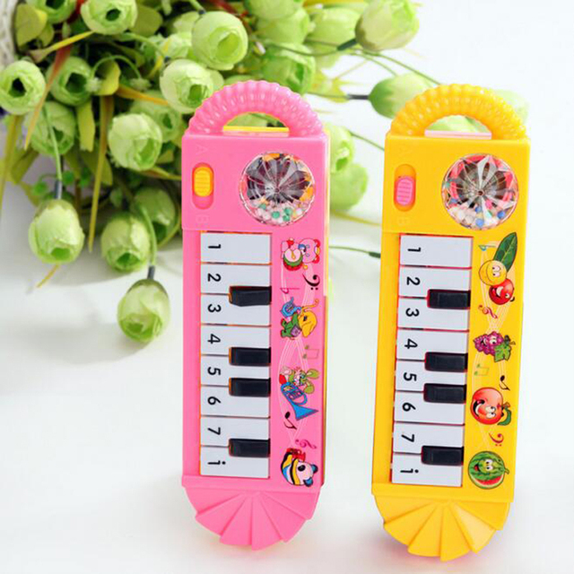 1 Piece Plastic Baby Children Electric Piano Musical Instruments Rattles Hand Bell Infant Newborn Preschool Learning Toys Gifts 2