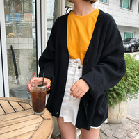 Korean Autumn Vintage Sweaters Cardigans For Women 2018 Winter Knitwear Fashion Solid Slim Female Long Sleeve Loose Coats