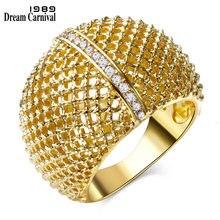Dreamcarnival1989 bijoux À La Mode Pleine Macramé Rhodium ou Or-couleur Blanc Cubique Zircone Anneaux pour les femmes bague femme SJ23337