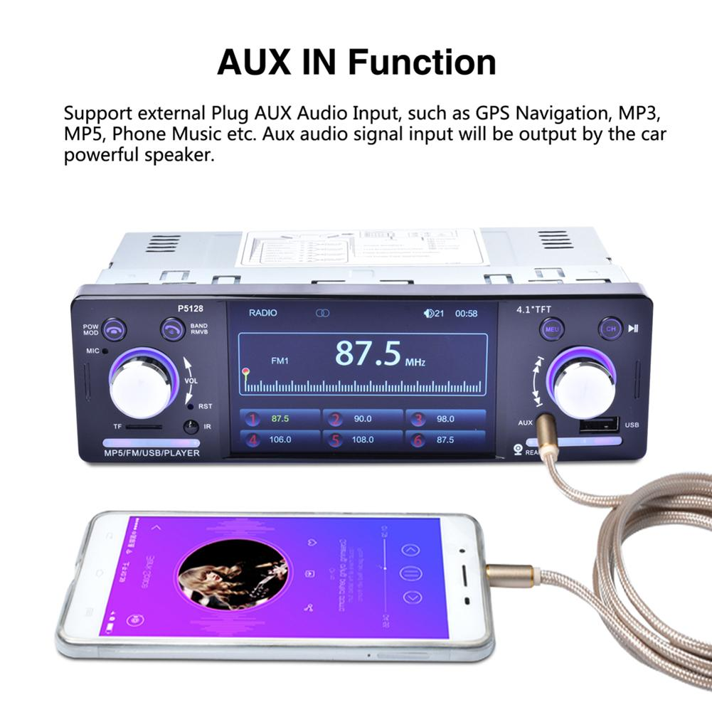 """Image 4 - 4.1"""" Autoradio TFT LCD 1080P Backlit Colorful ISO Port Priority Bluetooth MP5 Player P5128 support AM/FM/RDS Rear View Camera-in Car Multimedia Player from Automobiles & Motorcycles"""