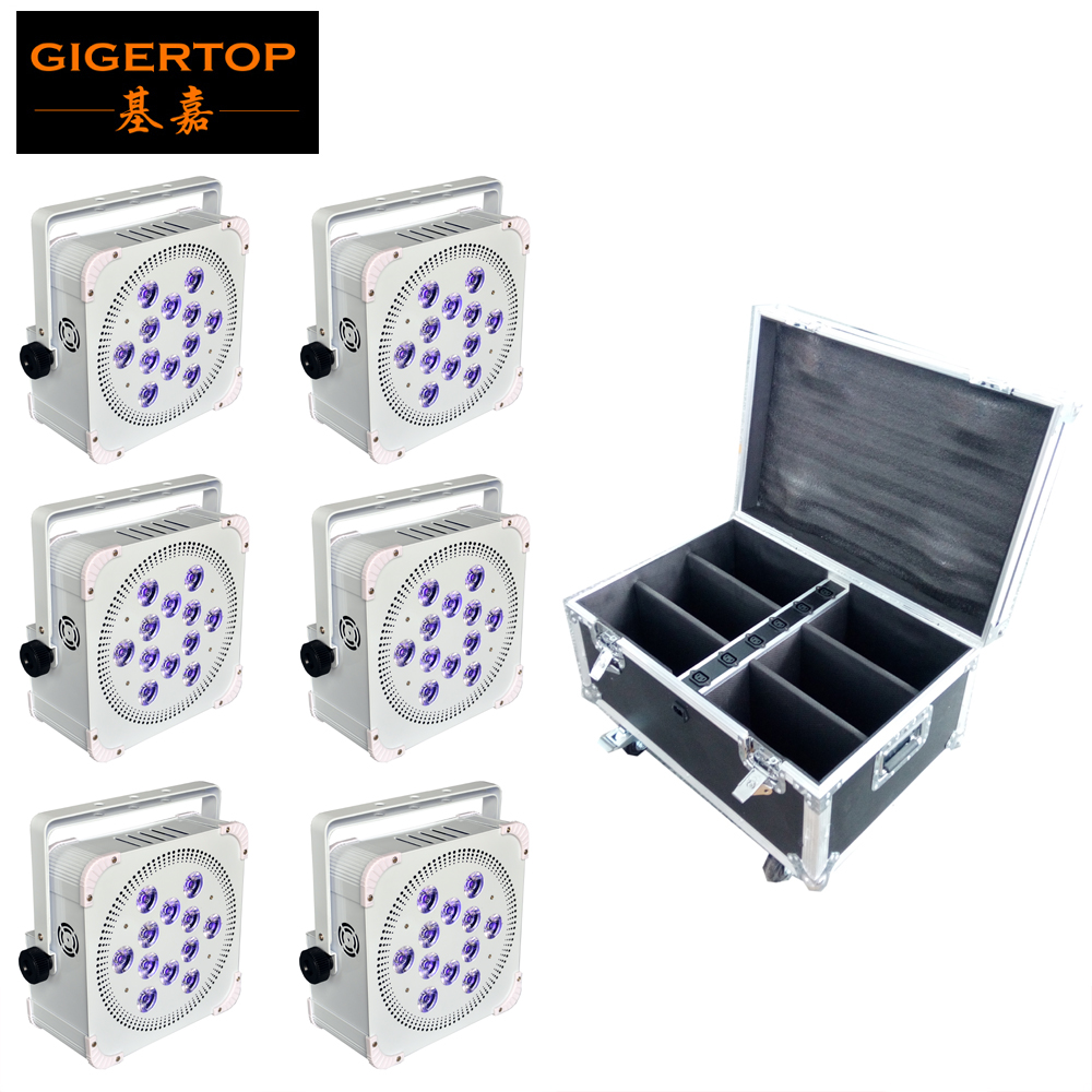 6PCS + flight case Newest 12x18w RGBWA+UV 6 IN 1 Battery Wireless led par light uplight White/Black Housing Optional High Power
